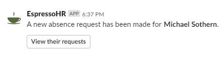 Absence Request Notification in Slack