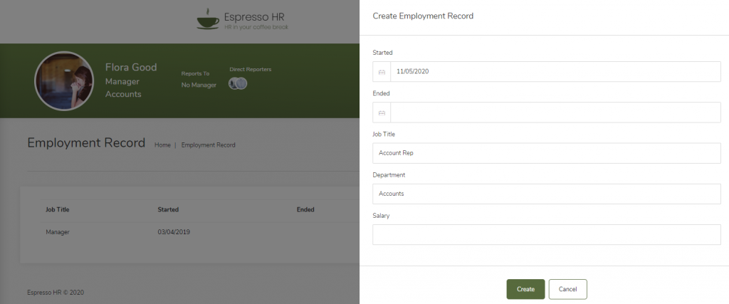Create Employment Record
