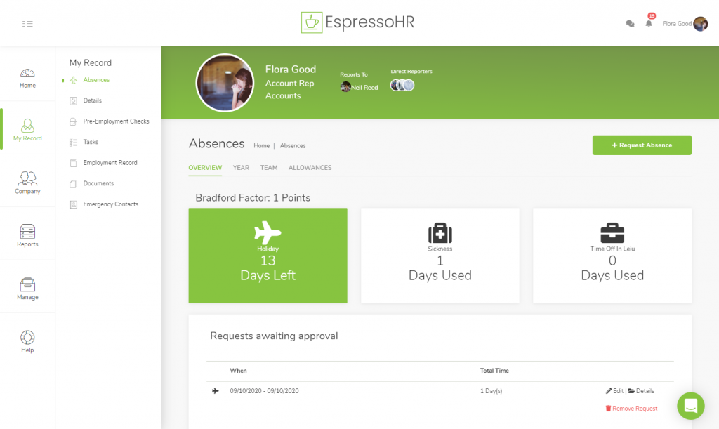 Employee Absences Overview Page