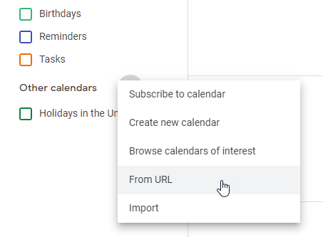 Select the menu to add a new calendar from a URL